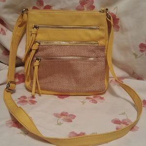 APT 9. Yellow vegan leather purse